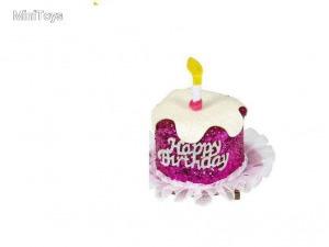 Happy Birthday - hajcsipeszre rögzített színes mini torta kalap, többféle, 1 db