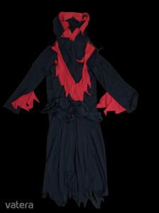 8-10 évesre fekete-piros ördög jelmez, halloween jelmez
