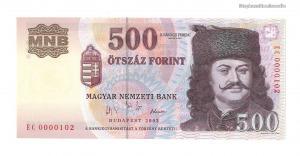 2003 500 forint EC alacsony sorszám UNC