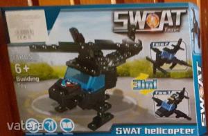 Swat fekete helikopteres építőjéték, 3in1 - ÚJ