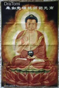 Buddha - régi tibeti hímzett selyem thangka falikép  - 60 x 90