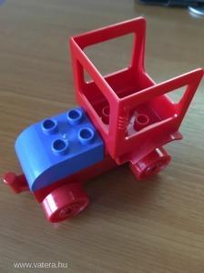 Lego Duplo ÚJ! tologatós vonat vasút jármű egyedi kék-piros nyitott