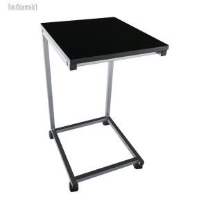Gurulós kisasztal, MDF (fekete) + fém (ezüst), MANNY