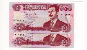 Irak 5 Dinar Bankjegy 1992 P80a dombornyomású sorszámkövető pár
