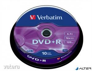 DVD+R lemez, AZO, 4,7GB, 16x, 10 db, hengeren, VERBATIM