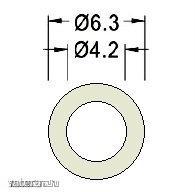 Távtartó Gyűrű Műanyag opál D:6.3mm, hossz:5mm