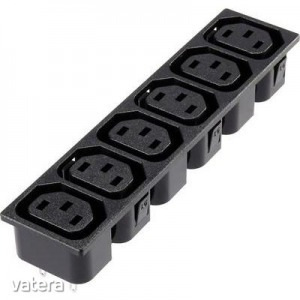 6 részes beépíthető hálózati műszercsatlakozó aljzat, 3 pól., függőleges, 10 A, fekete, C13, 1365780