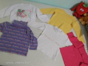 5 db-ból álló,kislánynak való felsőruházati csomag,86/92-es méretben:2 db garbó,3 db felső
