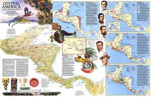 Eredeti térképmelléklet - National Geographic Magazine 1986. Central America Past and Present