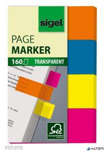 Jelölőcímke, műanyag, 4x40 lap, 20x50 mm, SIGEL '614', vegyes szín