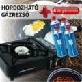 Hordozható gázrezsó + 4 db gázpatron