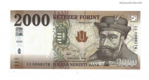 2016 2000 forint CC alacsony sorszám UNC