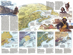 Eredeti térképmelléklet - National Geographic Magazine 1985. The making of America Northern Approach