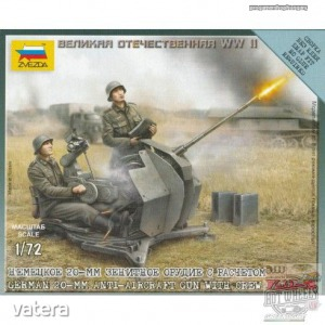 ZVEZDA German 20mm Anti-Aircraft Gun With Crew (PLASTIC MODELL KIT) 1:72