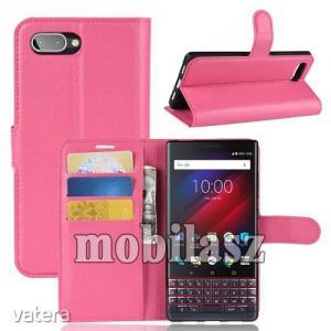 Blackberry Key2 LE, Wallet notesz tok, Oldalra nyíló, Mágneses záródás, Sötét rózsaszín