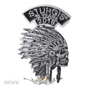 Sturgis Motorcycle Rally - Indian Headdress Pin. USA import motoros fém jelvény