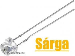 20db LED - Sárga, 5mm, 500 mcd, 100°