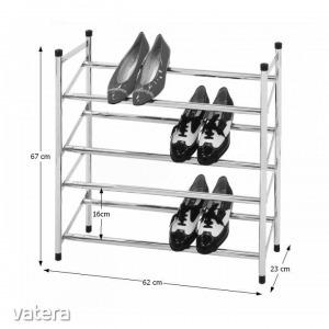 4-soros állítható cipőpolc, króm, DITA (4-soros állítható)