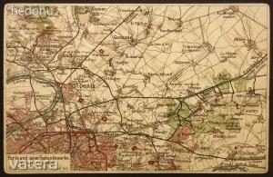 Párizs és környéke térkép (saroktöréssel). képeslap, képeslevelezőlap
