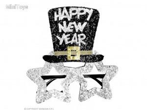 Happy New Year feliratú szemüveg ezüst színben