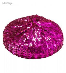 Baszk sapka lila színű flitterezéssel