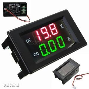 Digitális LED DC volt/amper mérő panelműszer 0...99,9V és 0...20A mérési tartománnyal