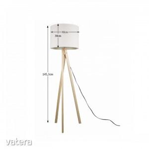 Állólámpa, fehér/fa natural, LILA TYP 6