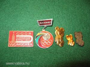 Az 1980. évi Moszkvai Olimpia emlék kitűzői, orosz kiadásban, 5 db. különböző...